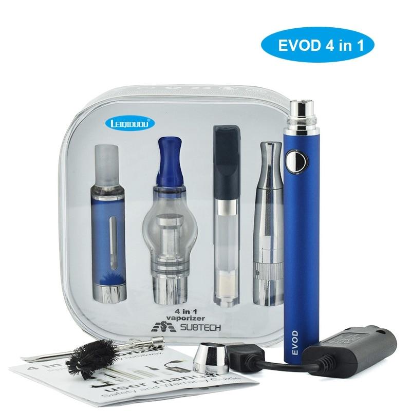 leiqidudu high quality 4 in 1 vaperizer EVOD kits atomizer coil glass CE3 wax dry herb oil cbd atomizer