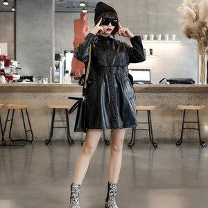 Image 4 - 2020 wiosna projektant elastyczna talia kożuch oryginalne prawdziwe skórzane długie kurtki kobiety dorywczo z długim rękawem kurtki skórzane Streetwear