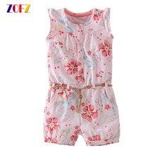 e63d39e5f ZOFZ ropa Mono corto con cinturón sin mangas Flower Baby Rompers para niñas  moda algodón recién nacido Bebé Ropa