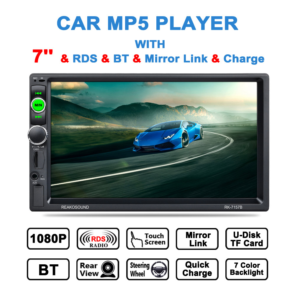 2 DIN MP5 Car Player Rear View Camera 7 HD LCD Touch Screen BT Card Reader Radio 7157B Aoto Multimidia Video For Audi BMW Ford 7 touch screen mp5 player bt hd card reader radio 7157b double din fast charge support video playback with camera car stereo