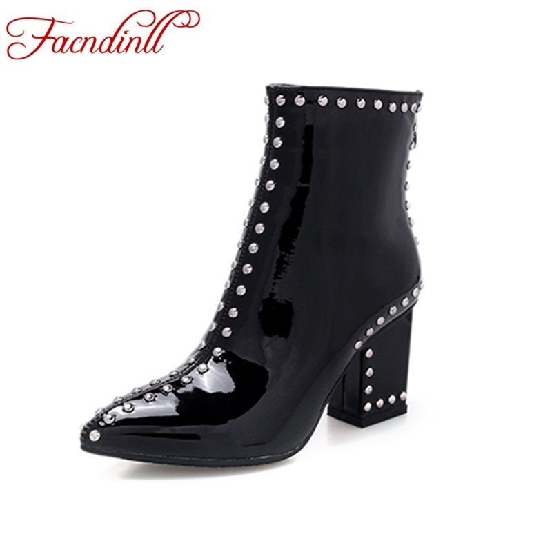 ФОТО fashion women boots 2017 new patent leather shoes woman ankle boots high heel pointed toe zipper black riding boots casual shoes
