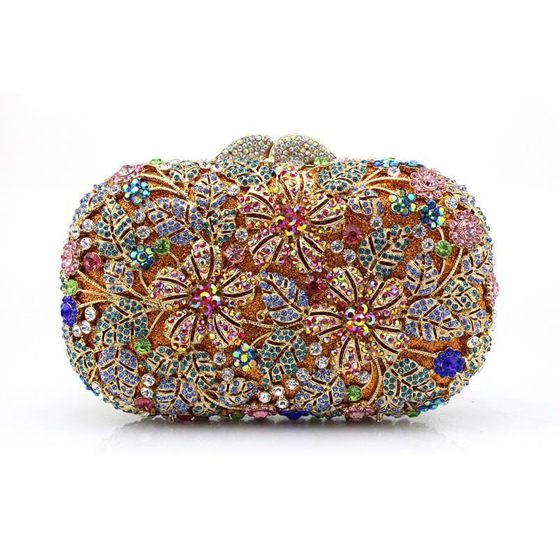 ФОТО 8302 Color-A Crystal Flower Floral Bridal Party hollow Metal Evening purse clutch bag handbag case box