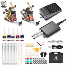 hot deal buy hybrid complete 2 coil tattoo machine kit set for beginner power supply foot pedal needles ink set tattoo body&art tk215