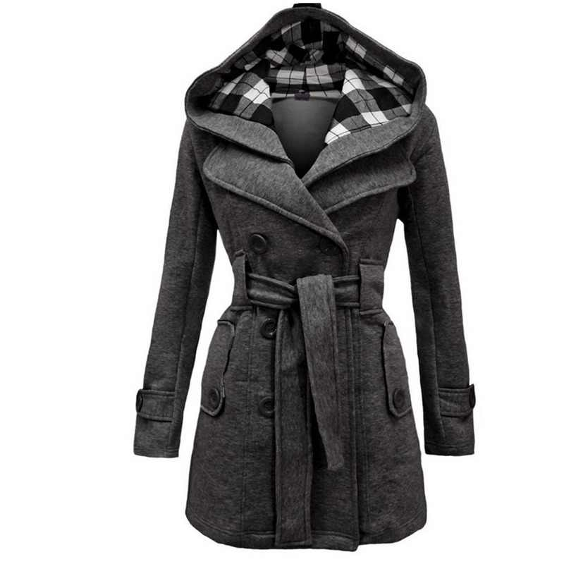 Autumn Elegant Vintage Office Lady Women Overcoats Slim Plain Belt Girls Winter Gray Female Coats hooded double-breasted 2XL 3XL