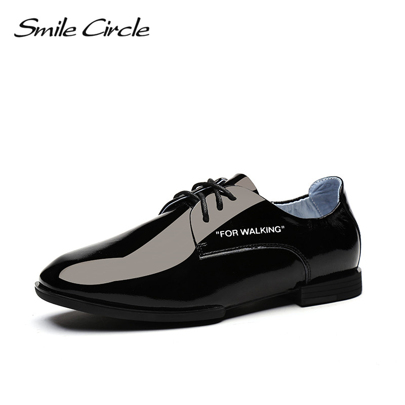 Smile Circle 2018 Spring Patent leather Oxford Shoes Women Round Toe Lace-Up flats Shoes White black yellow Casual Shoes smile circle 2018 spring patent leather oxford shoes women round toe lace up flats shoes white black yellow casual shoes