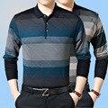 Высокое качество осень свитер мужской лацкан среднего возраста мужская с бренд-имя бизнес повседневная полосатые пуловеры мужская большой размер