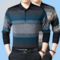 High - quality autumn sweater men 's lapel middle - aged men' s brand - name business casual striped pullover men 's large size