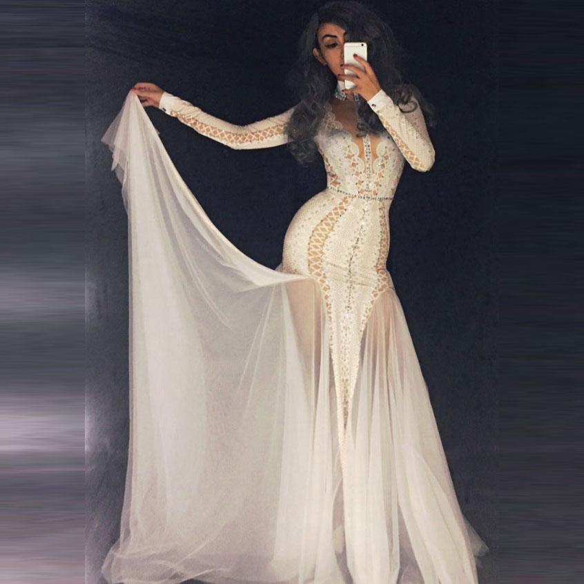 Sexy Festa de Celebridades Mulheres Glitter Cristais Vestido Branco Feminino Dancer Cantor Mostrar Tempo de Estágio Wear Maxi Vestidos Até O Chão