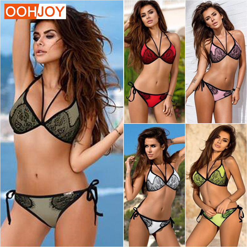 2018 New Lace Bikini Women Swimsuit Strappy Bandage Swimwear Backless Bathing Suit Push Up Halter Girl Mesh Beachwear Bikini Set alluring halter polka dot lace up crochet bikini set for women
