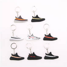 mini BOOST 350 V2 Shoes Keychain Bag Charm Woman Men Kids Key Ring Key Holder Gift S P L Y 350 Sneaker Silicone Key Chain(China)