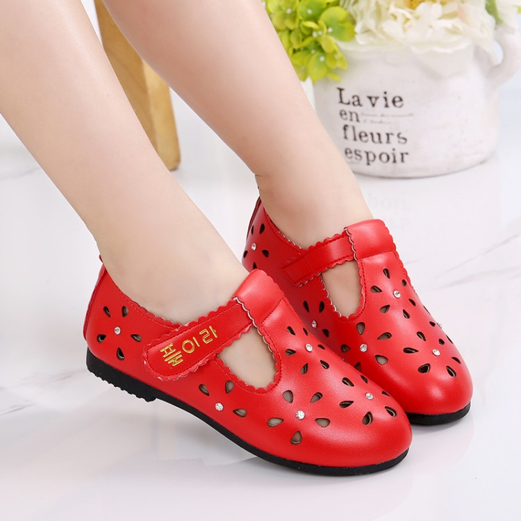 NEW 2018 Summer Girls Leather Shoes Children Cut-Outs Shoes Breathable Soft Bottom Wrapping Toe Sandals For Princess Size 26-35