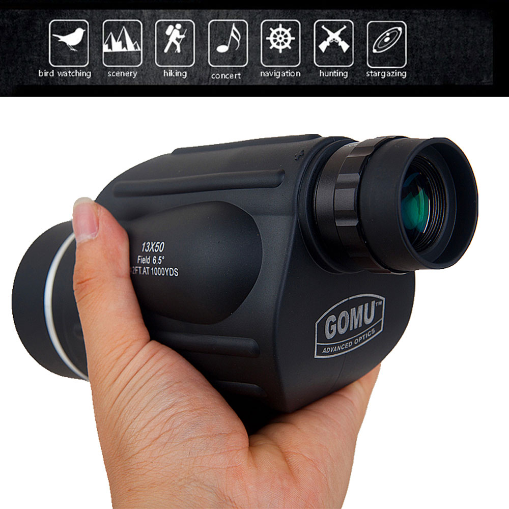 Hunting GOMU 13x50 Monocular Powerful Handheld Telescope Eyepiece Spotting Scope Ranging type birding with phone camera adapter in Monocular Binoculars from Sports Entertainment
