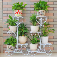 European balcony and indoor flowerpot garden flower stand pergolas flower iron white black color brown