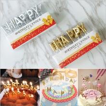 Розовые, золотые, серебряные, красные с надписью «Happy Birthday», праздничный торт, праздничные принадлежности для дня рождения, милые свечки на день рождения для кухни, выпечка в подарок
