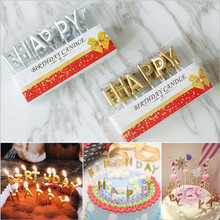 Rose Gold Sliver Red Happy Birthday Letter Cake Party Festival Supplies Lovely Candles for Kitchen Baking Gift