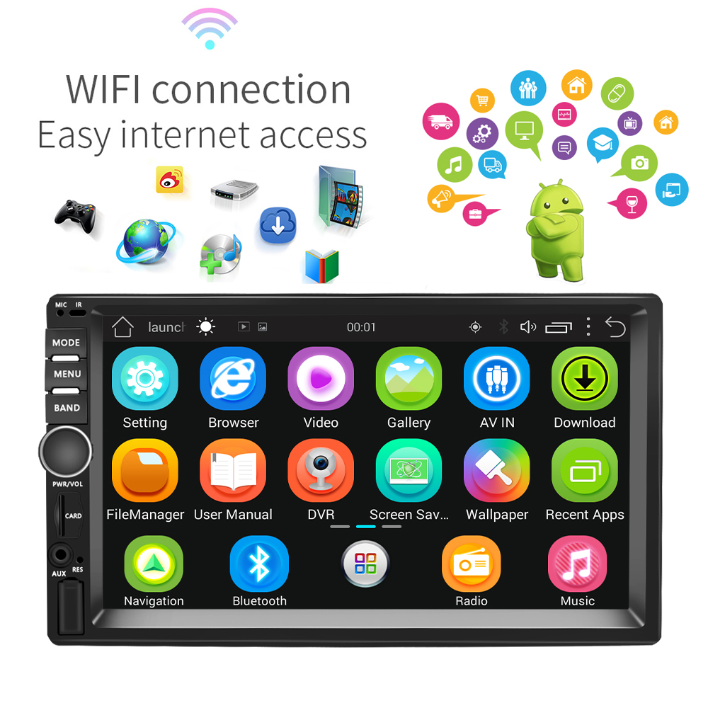 Image 3 - Podofo 7'' Android Car Radio Stereo GPS Navigation Bluetooth USB SD 2 Din Touch Car Multimedia Player Audio Player Autoradio-in Car Multimedia Player from Automobiles & Motorcycles