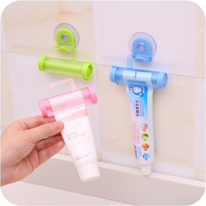 1PC Toothpaste dispenser rolling squeezer hanging hook suction plastic tube RS