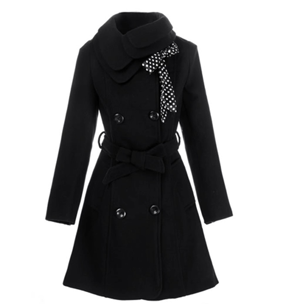 2017 new Women Winter Wool Coat Girl Double Breasted Cute Long ...