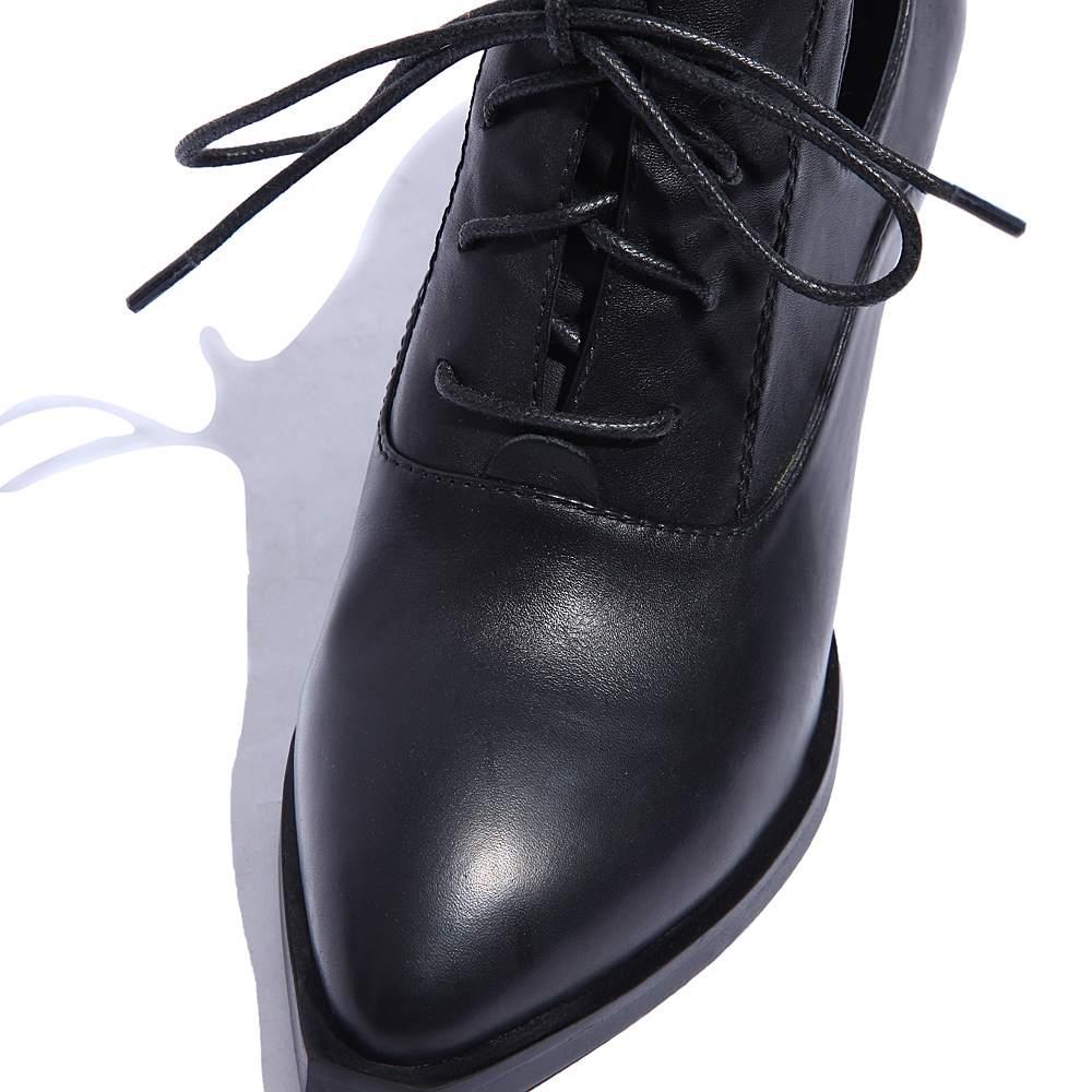 2019 moda Streetwear de cuero genuino con cordones clásicos del dedo del pie puntiagudo tacones altos británico de la Oficina de la escuela dulce dama mujeres bombas L97-in Zapatos de tacón de mujer from zapatos    3