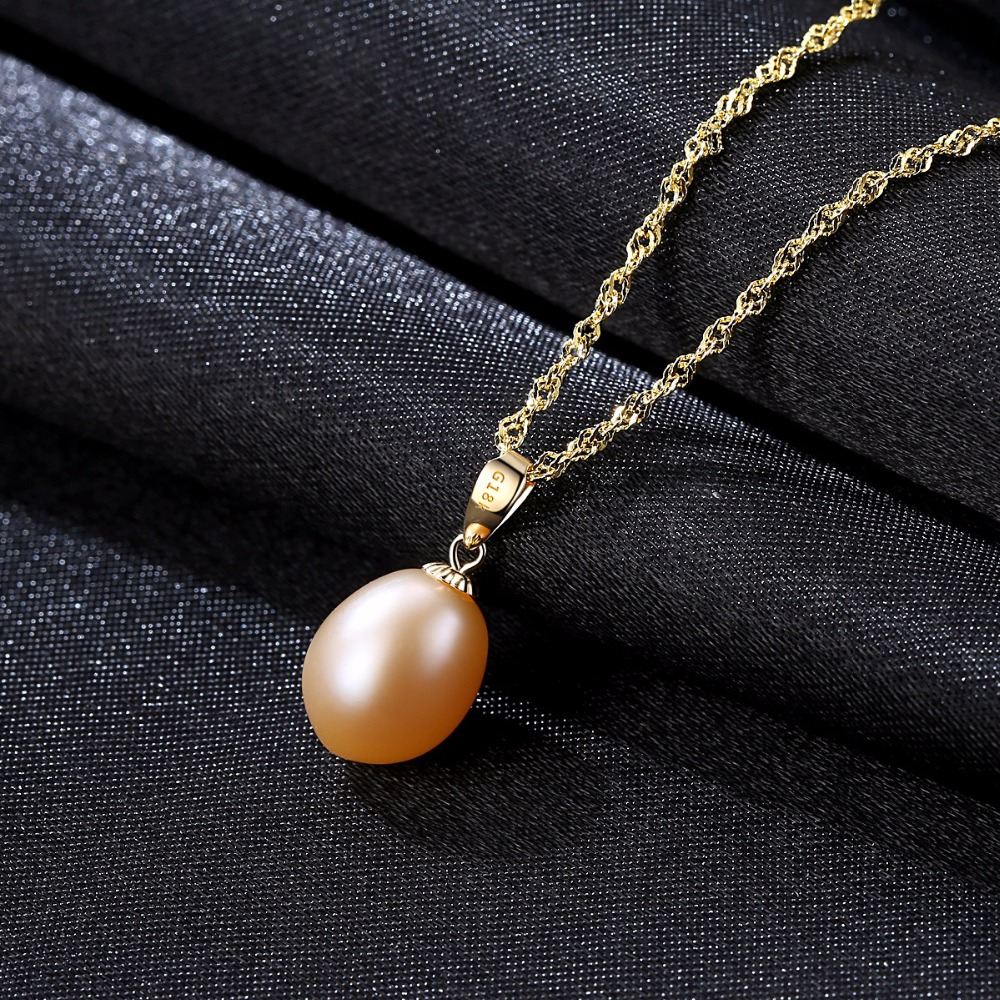 Image 5 - CZCITY 18K Yellow Gold Pendant Six Colors Natural Freshwater Pearl Pendant Free 925 Water wave Necklace 40+5cm Gift for Women-in Necklaces from Jewelry & Accessories
