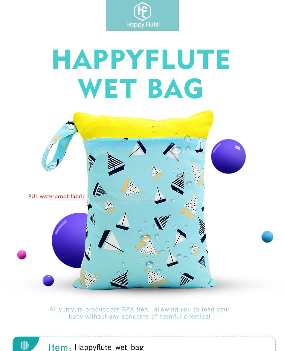 HTB1 CTRbEz.BuNjt bXq6AQmpXaZ Happy Flute 1PC Reusable Waterproof Fashion Prints Wet Dry Diaper Bag Double Pocket Cloth Handle Wetbags 30*40CM Wholesale