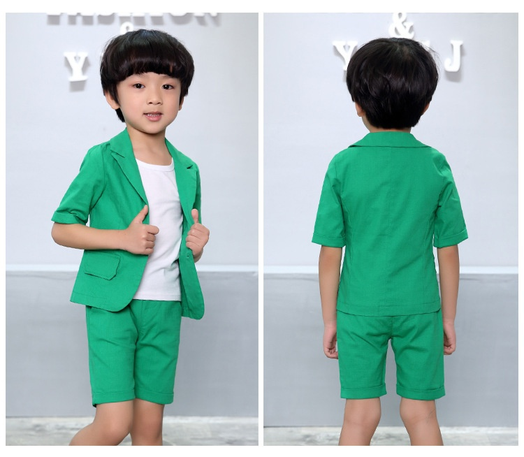 7293e6aae7972 2PCs Kids Formal Wedding Party Green Teal Turquoise Grey Boys Suit Short  Sleeve-in Clothing Sets from Mother & Kids on Aliexpress.com | Alibaba Group