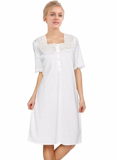 2018 Lace Patchwork Princess Sleepwear New Victorian Style Soft Cotton  Nightgown Short Sleeve Square Collar Summer Sleep Dress 326794130