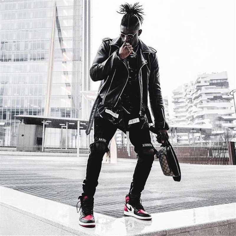 スキニージーンズハイウエスト穴ストリート黒デニムジーンズ男性サイドストライプパンツストライプリッピング弾性スリム鉛筆のジーンズ