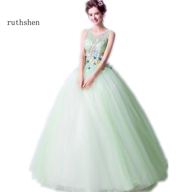 ruthshen Mint Green Quinceanera Dresses Cheap Emboroidery Ball Gown  Debutante Prom Dress 3d Floral Sweet 16 Dresses 8534a00a9f22