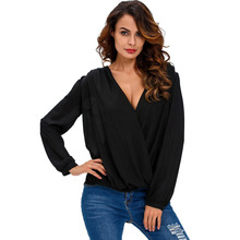 Women Sexy V Neck Long Sleeve Chiffon T Shirt Casual Irregular Sexy Lace Floral Hollow Out Tops Plus Size