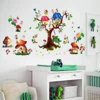 Chambre d'enfants dessin animé papillon elfes Sticker mural Pegatinas De Pared pour enfants chambres chambre décor à la maison papier peint autocollant
