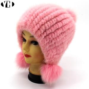 Image 3 - חדש אופנה נשים אמיתית מינק פרווה כובע טבעי מינק פרווה בימס פרווה כובעי אופנה ליידי אלסטי כובע חורף Skullies שועל פרווה פום poms