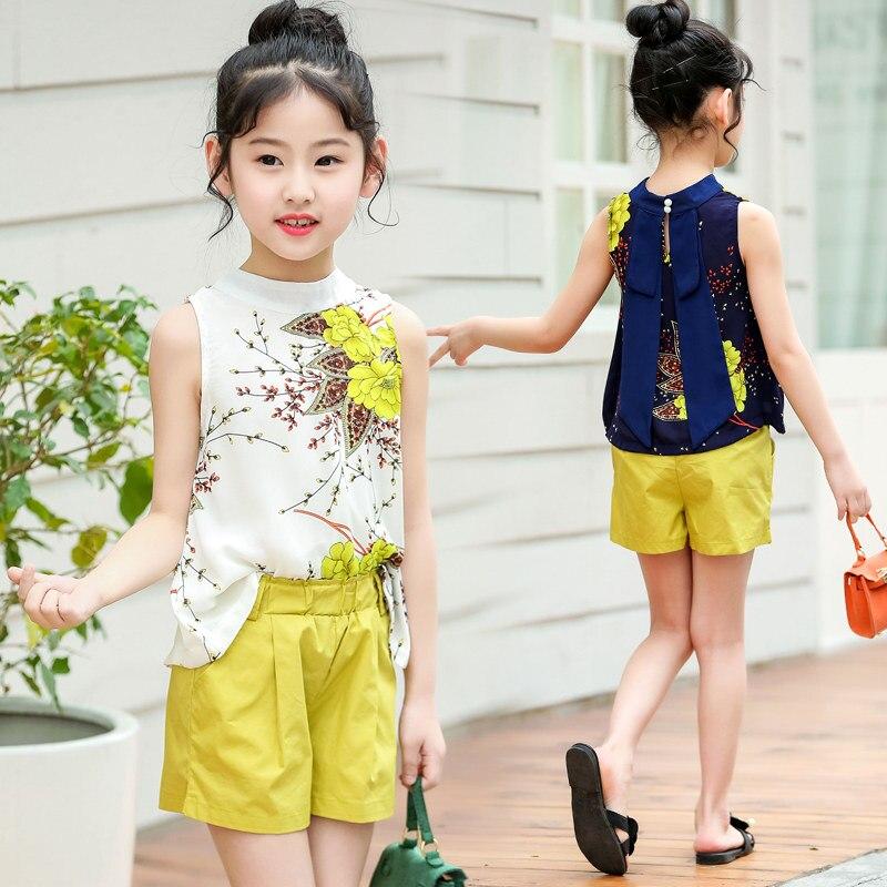 2019 grande menina verão conjunto de roupas floral colete + shorts crianças roupas definir meninas camisa calças terno marca crianças roupas com arco