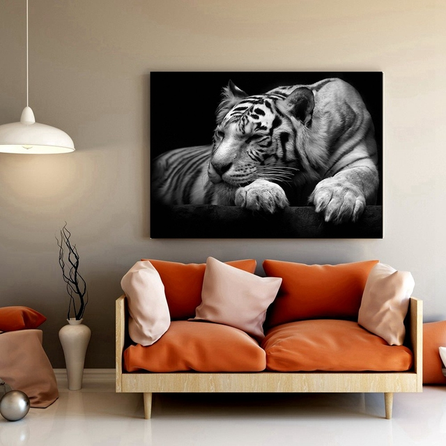 Black And White Tiger Poster Wildlife Wall Art Canvas Painting For