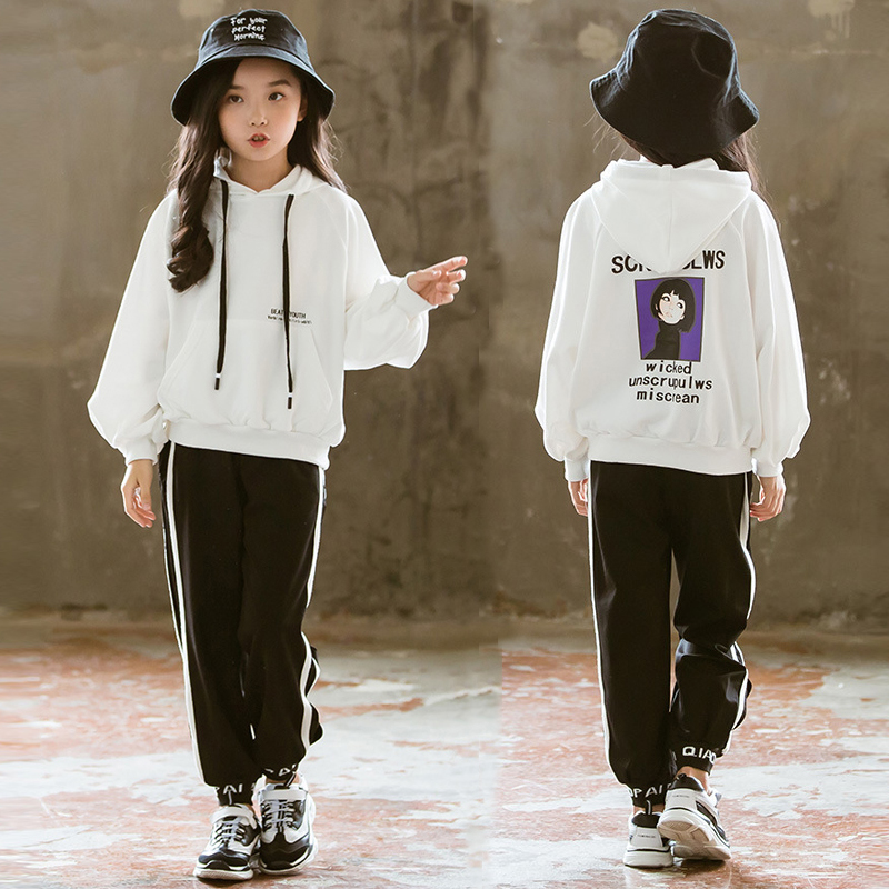 Teenage Girls Clothing Set for 12 years 2019 Autumn Long Sleeve hoodies Sweatshirt + Pant Two Pieces Back To School Outfits