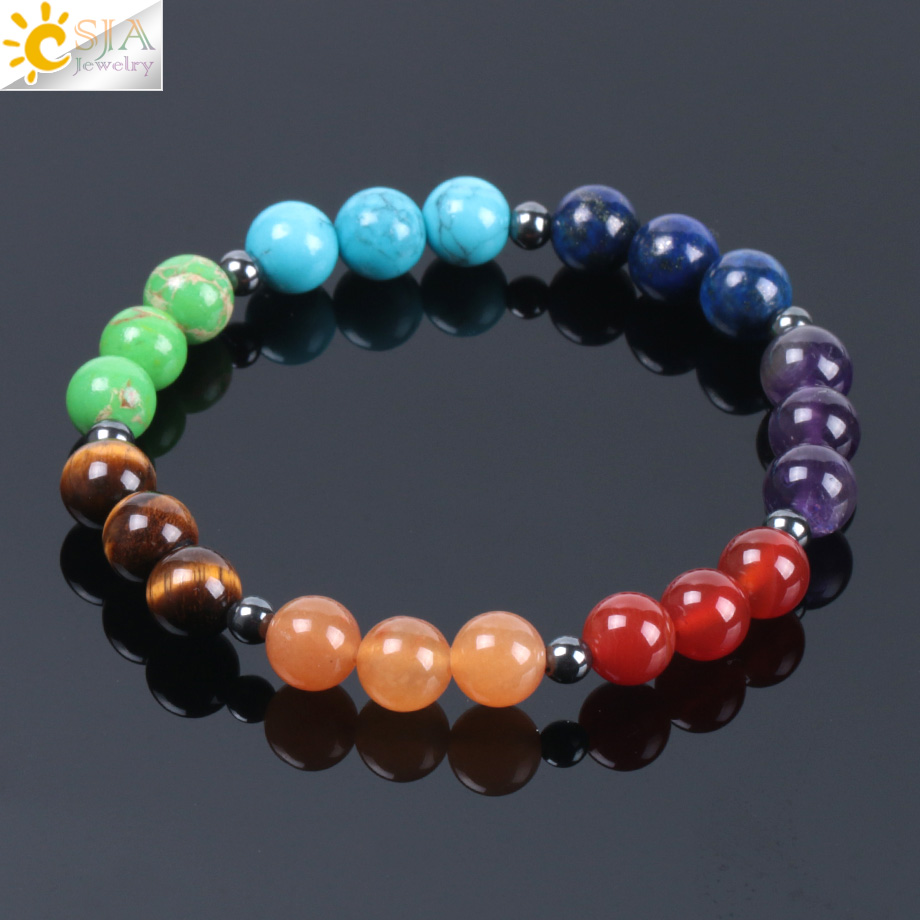 CSJA 2018 Rainbow 7 Chakra Natural Gem Stone Charm Bracelets for Women Men Healing Meditation 8mm Mala Bead Ethnic Bracelet E999