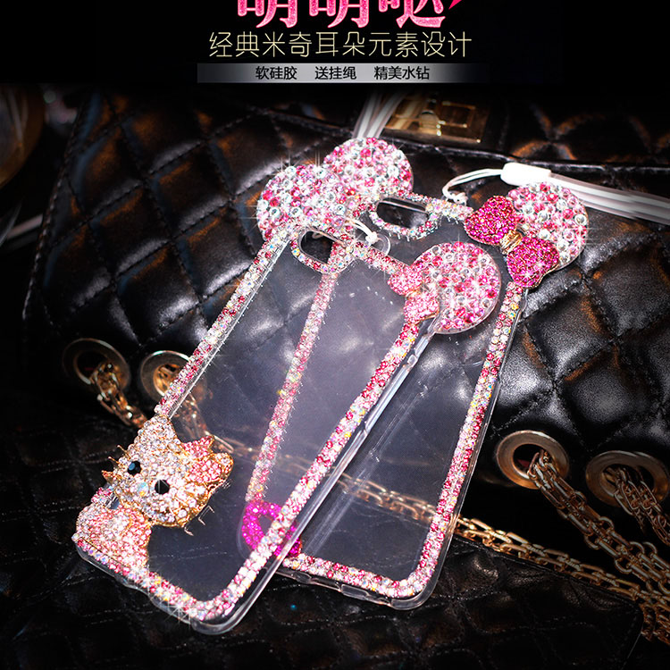 New 3D Mickey mouse Case For Huawei Y3 II Y5 II Y6 II Mate 8 G8 Cases Rhinestone ear Hello Kitty Soft Protect Cover Phone Chain
