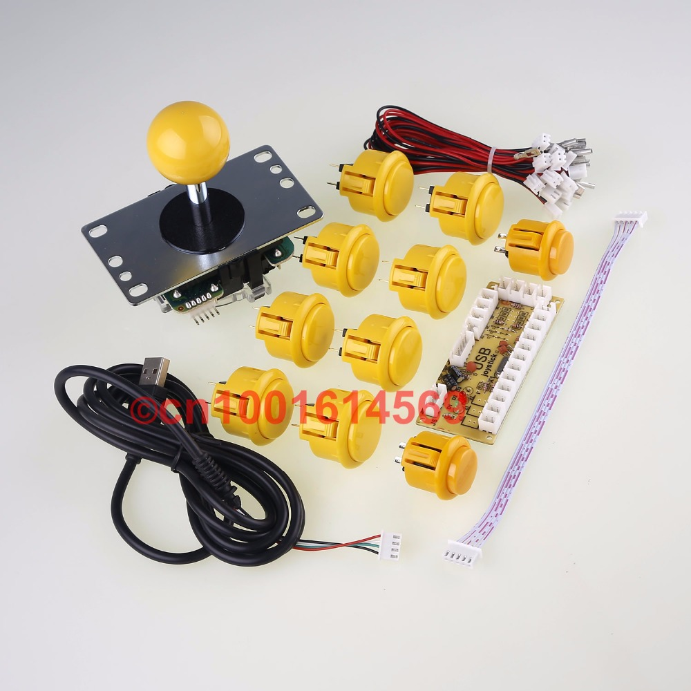 Arcade Mini Table Top Arcade Machine DIY Kits Bundles Sanwa Button + 2 x Start Button + Sanwa Joystick + Encoder Board - Yellow dhs power g13 pg13 pg 13 pg 13 blade with dhs hurricane2 hurricane3 rubbers for a racket shakehandlong handle fl