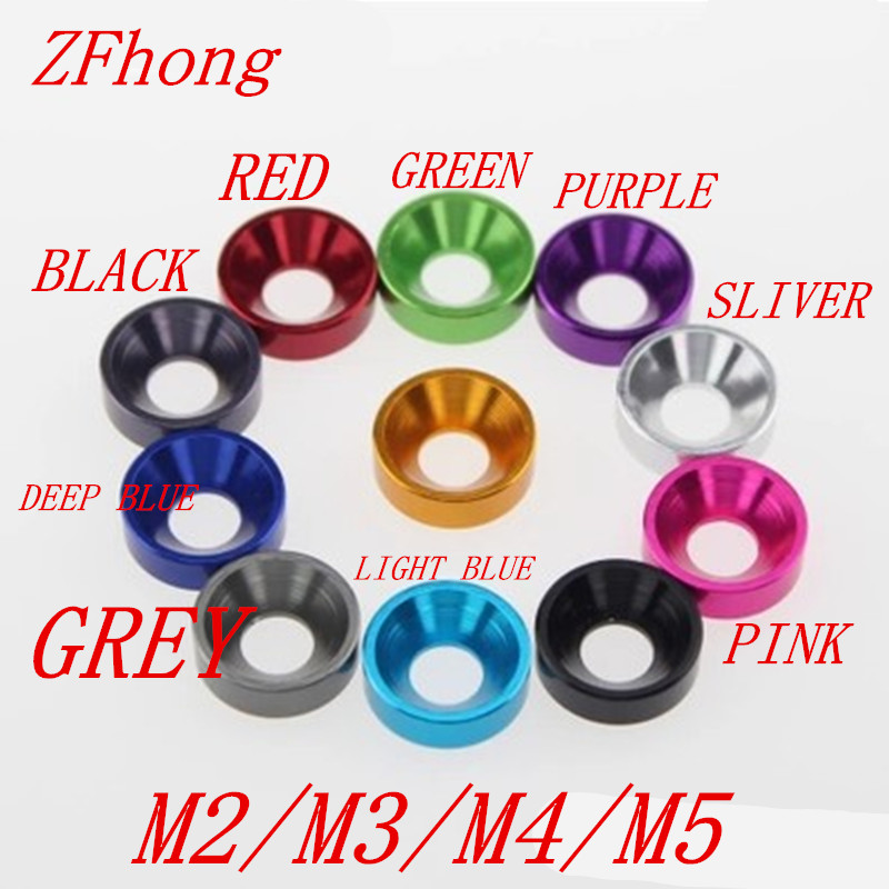 20pcs M2 M2.5 M3 M4 M5 M6 Aluminum Colourful Anodized Countersunk Head Bolt Washers Gasket Red/Grey/Gold/deep Blue/Black/pink