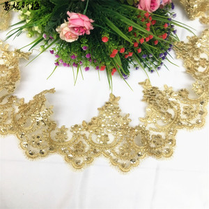 Image 2 - Delicate 3Yards Gold Sequin Cording Lace Accessories Wedding Dress Curtain Home Gold Yellow Lace Accessories Trim 13cm LJ0110