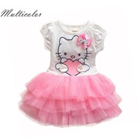 Hello Kitty Girls Dresses Summer 2016 Cartoon Wings Tutu Dress For Girls Kids Princess Dresses Girls