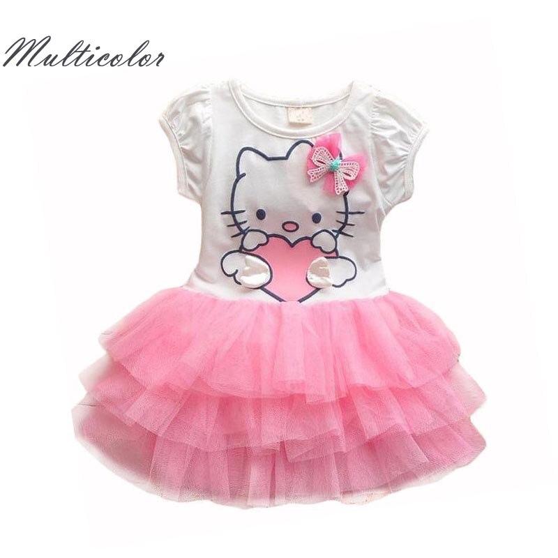 Hello Kitty Niñas Vestidos Verano 2017 de dibujos animados alas vestido de tutú para Niñas princesa Vestidos Niñas ropa enfant paño