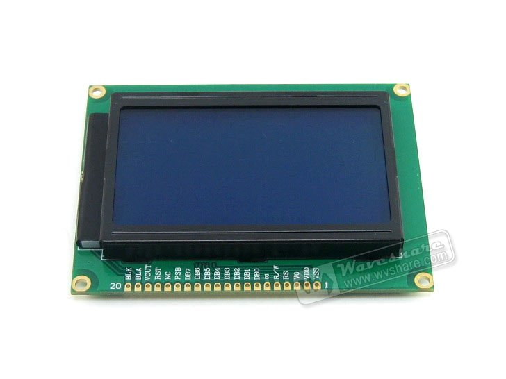 Waveshare LCD12864-ST 128*64 Graphic Matrix LCD LCM Display Module TN/STN Blue Backlight White Character 3.3V Logic Circuit