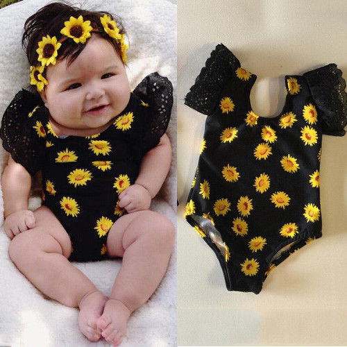 Lovely Newborn Baby Girl Clothes Bodysuit Flower Short Sleeve Lace Cute Jumpsuit Playsuit Baby Girls Clothing Outfits