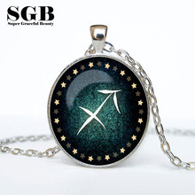 12 Star Zodiac Constellation Vintage Time Gem Pendants for Women and Men Necklace Fashion Jewlery