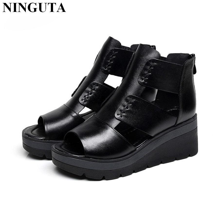 Fashion platform wedges sandals women full grain leather ...