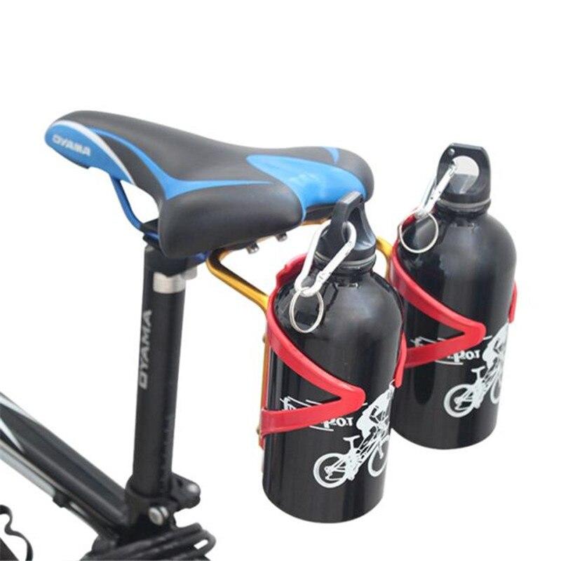 Mtb Bike Seat Post Back Double Water Bottle Holder Cage Rack