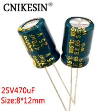 CNIKESIN 50PCS 25V470UF for SANYO high frequency low resistance long life graphics LCD Super capacitor 470uf 25V 8*12mm