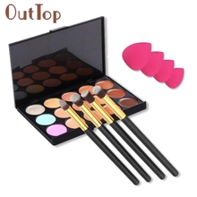 W 15 Colors Contour Concealer Palette + 4pcs Powder Brushes +1pc/4pcs Sponge Blender cosmetici produits de beaute Hot Dropship