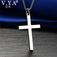 V YA S925 Solid Silver Cross Pendant High Quality Real Pure 925 Sterling Silver Cross Pendant